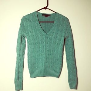 Ralph Lauren Sport green cable knit sweater v-neck